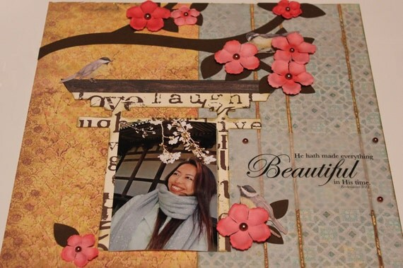 Cherry Blossom Premade layout 12 x 12 birds pink chocolate scrapbook