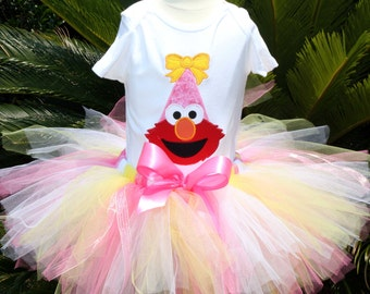 Custom Peronalized Elmo Birthday Tutu