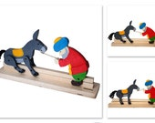 Lovely handcrafted wooden toy Nasreddin and his donkey, natural, organic wooden toys for kids
