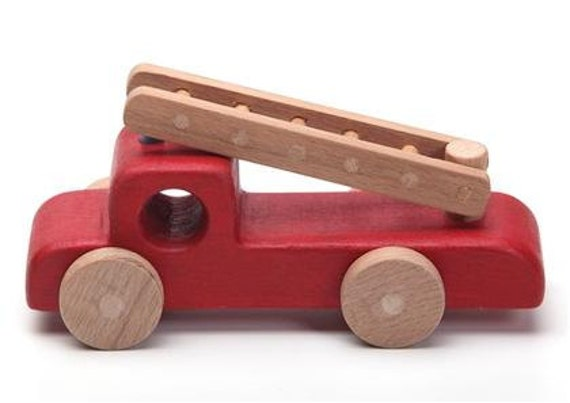 Wooden Toys For Toddlers : Fire truck wooden toys wood toy kids christmas gift