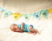 Custom Baby or Child's Name Fabric Flag Banner - Colorful Bunting - Photo Prop