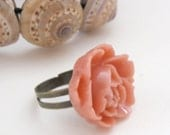 Adjustable bronze ring with large pink rose