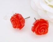 Retro red rose earrings