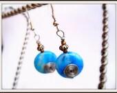 Blue Wire Spiral Glass Bead Earrings