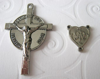 Pewter Rosary Parts Set, Stylized Avé Maria Centerpiece & Radiant Crucifix, Rosary Supplies to DIY