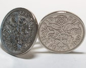1959 Sixpence Cufflinks 57th birthday.  Original sixpence coins Great gift from 1959 57th
