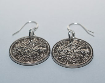 1963 55th birthday lucky sixpence earrings - WOW great gift idea