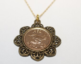 Floral Pendant 1953 65th Birthday Farthing & 18in Gold Plated Sterling Silver chain 64th
