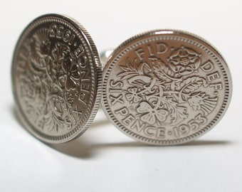 1953 Sixpence Cufflinks 65th birthday.  Original sixpence coins Great gift from 1953 64th
