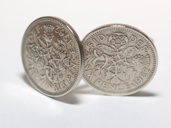1962 Sixpence Cufflinks 54th birthday.  Original sixpence coins Great gift from 1962