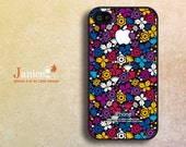 iphone 4s case black iphone case iphone 4 cover sweet colorized classic white purple flower unique Iphone case