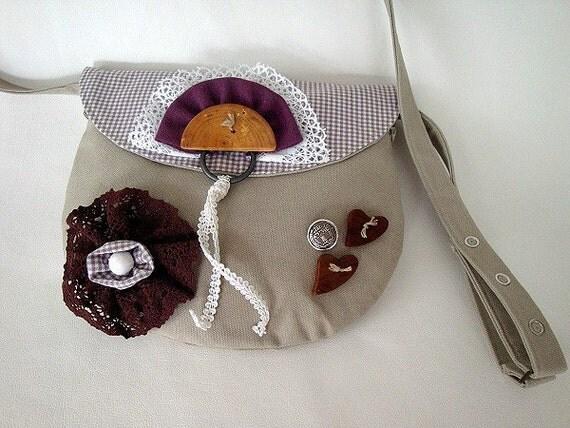 SALE - Bag, tote bag, pouch, case, linen, fabric, cotton, lace, beige, purple, brown, dirndl