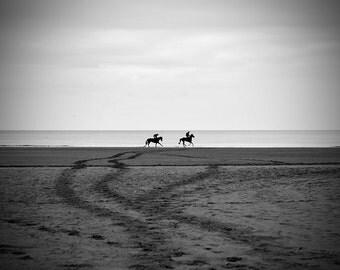 Horse photo, black and white fine art photo print, animal photograph, horses on beach