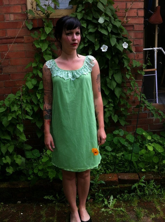 Vintage Mint Green Baby Doll Nightie