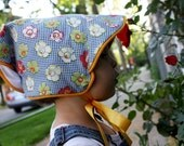 Adjustable Vintage Style Baby Sun Bonnet: Blue Check Floral Print