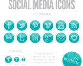 Turquoise Social Media Icon Buttons - Blog or Web