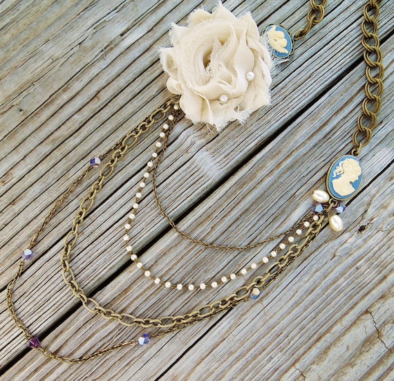 Long Vintage Inspired Statement Necklace Cameo Necklace Ivory Fabric Flower Asymmetrical Antique Brass Chain