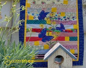BUTTERFLIES and Black-eyed Susans Mini Wall Art Quilt Gift Home Decor Flower Garden Wedding Party Birthday