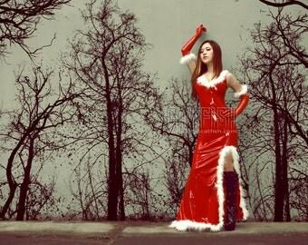 Woman Christmas Latex Dress