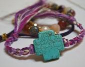 Turquoise cross braided purple bracelet