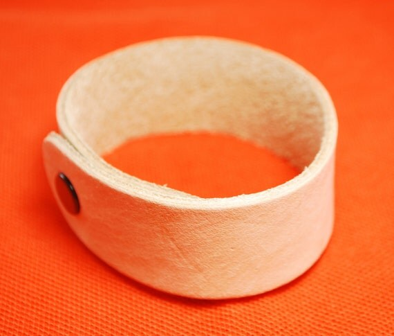 2 pieces,  1 inch Genuine Leather blank wristband / bracelet with snap button