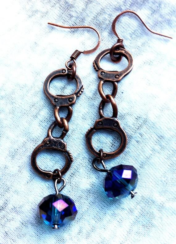 Wild West Bronze Handcuff Blue Crystal Earrings Fancy Punk Rock