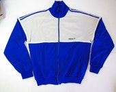 Adidas Track top in grey and blue - size M