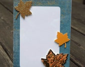 """Fall Frame with Leaves Blue Background 5""""x7"""""""