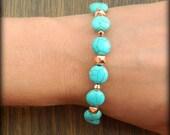 Turquoise & Rose gold layering bracelet