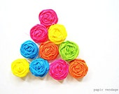 10 Neon Fabric Rosette Embellishments,Rosettes , DIY supplies, Rosette accessories, Summer Rosettes, Single rosettes,rosette embellishments