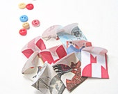 "9 Mini Circus Petal 1"" Envelopes,  Carnival Theme, Red, White & Blue, Birthday Party Fun Notes, Scavenger Hunt Hints"