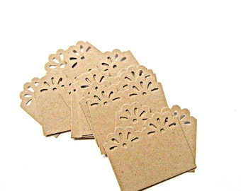 10 Mini Notecards for Mini Envelopes, Vintage Lace Edge on Kraft Cardstock, Set of 10, Original OOAK Design
