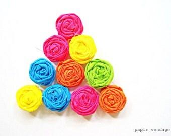 10 Neon Fabric Rosette Embellishments,Rosettes , DIY supplies, Rosette accessories, Summer Rosettes, Single rosettes,rosette embellishments