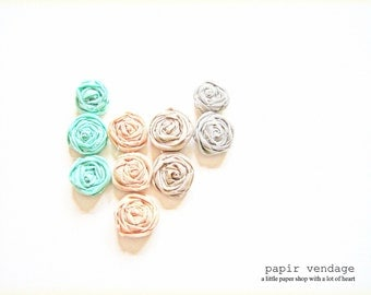 Fabric Rosette Embellishments, Mint, Peach, Sand, Stone from the Tribal Summer Collection, Set of 8  (1 inch) Rosettes
