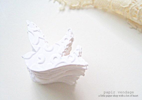 100 White Embossed Sparrow Confetti, Wedding Table decoration, vintage wedding, summer wedding