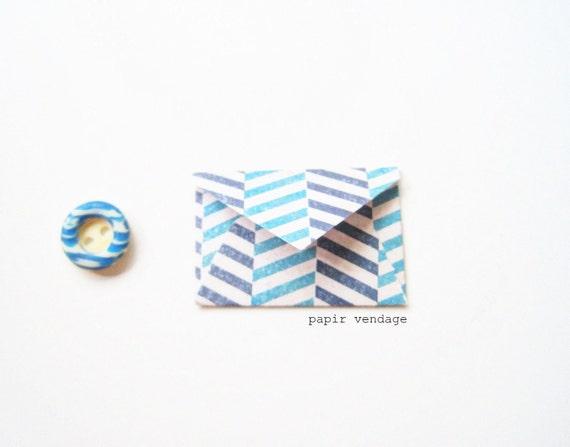 10 Mini Chevron Envelopes in Aqua & Navy Chevron , Set of 10 -- Wedding Reception, Special Notes, Party Favors, Scrapbook Delights