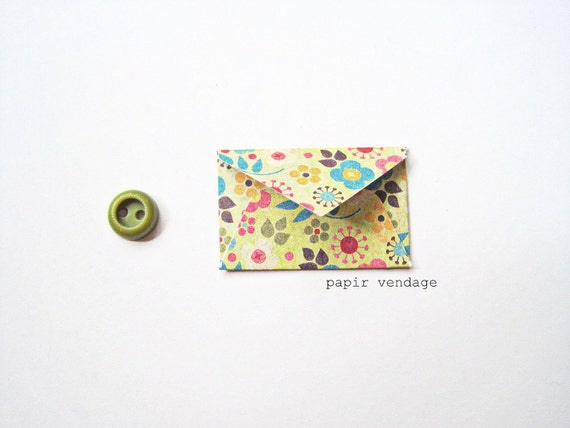 10 Mini Envelopes in Flower Power -- Journaling Envelopes , Special Notes, Party Favors, Wedding Wishes , Scrapbook Delights