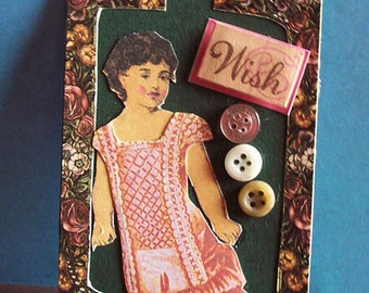 """Original ACEO - """"Vintage Wish"""" Paper Doll Collage - Art Trading Card, Buttons, Victorian, Bitcoin Accepted"""