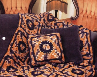 Vintage Annie's Attic Victorian Squares and Pillow Crochet Pattern - Afghan, Bedspread, Granny Square, Bitcoin Accepted