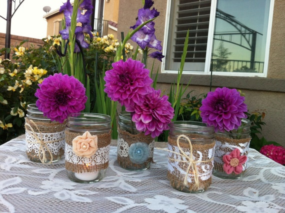 BURLAP LACE MASON Jars Candle Holders  for Wedding and Cottage Decor : Rustic Farm House and Shabby chic/Vintage style decorations