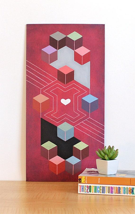 Cube Abstract Original Painting. 10x20 Geometric Modern Art. 3D Cube Painting