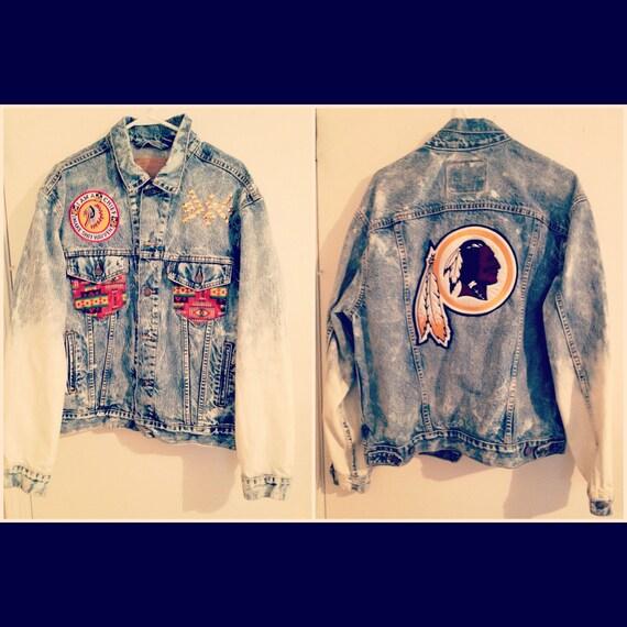 Vintage Custom Redskins Stone Washed Denim Jacket