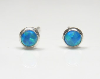 3mm cabochon lab Opal,silver studs.Solid  Silver  Earrings, Mother day earrings,