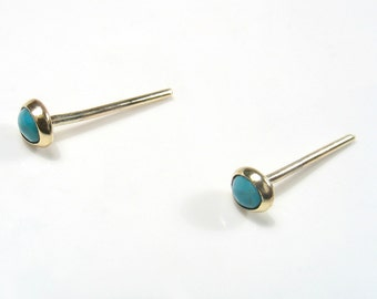 Solid yellow gold tiny 3mm cabochon Turquoise ,gold studs.