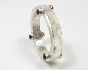 silver ring with three gold balls and three cabochon stones-dot,dot,dot ring