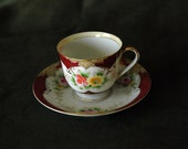 Footed Tea Cup and Saucer Marked Occupied Japan