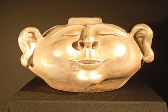 BUDDHA Bronze-Painted Ceramic Pot