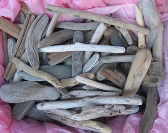 "50 Pieces of Bulk Driftwood, 4"" to10"" Drift Wood Pieces, Craft Supplies, Beach Wedding Decor, Rustic Beach Decor"
