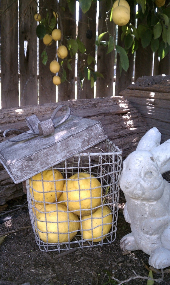 French Country Wire Farmhouse Basket with Enamel tag