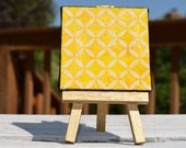 Petal Synchrony on Mini Canvas with matching Gold Easel, Yellow Art, Yellow Home Decor, Bright Yellow